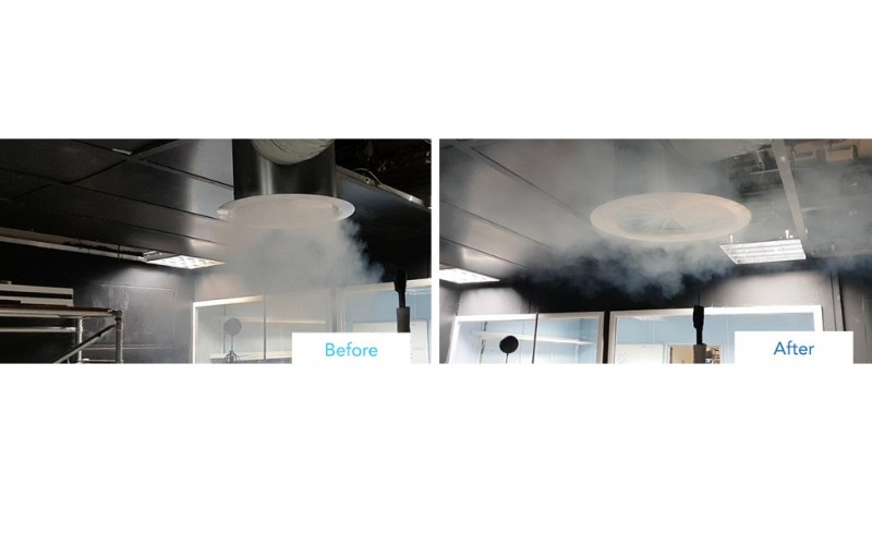 Air diffusion swirl solution for exposed ceilings